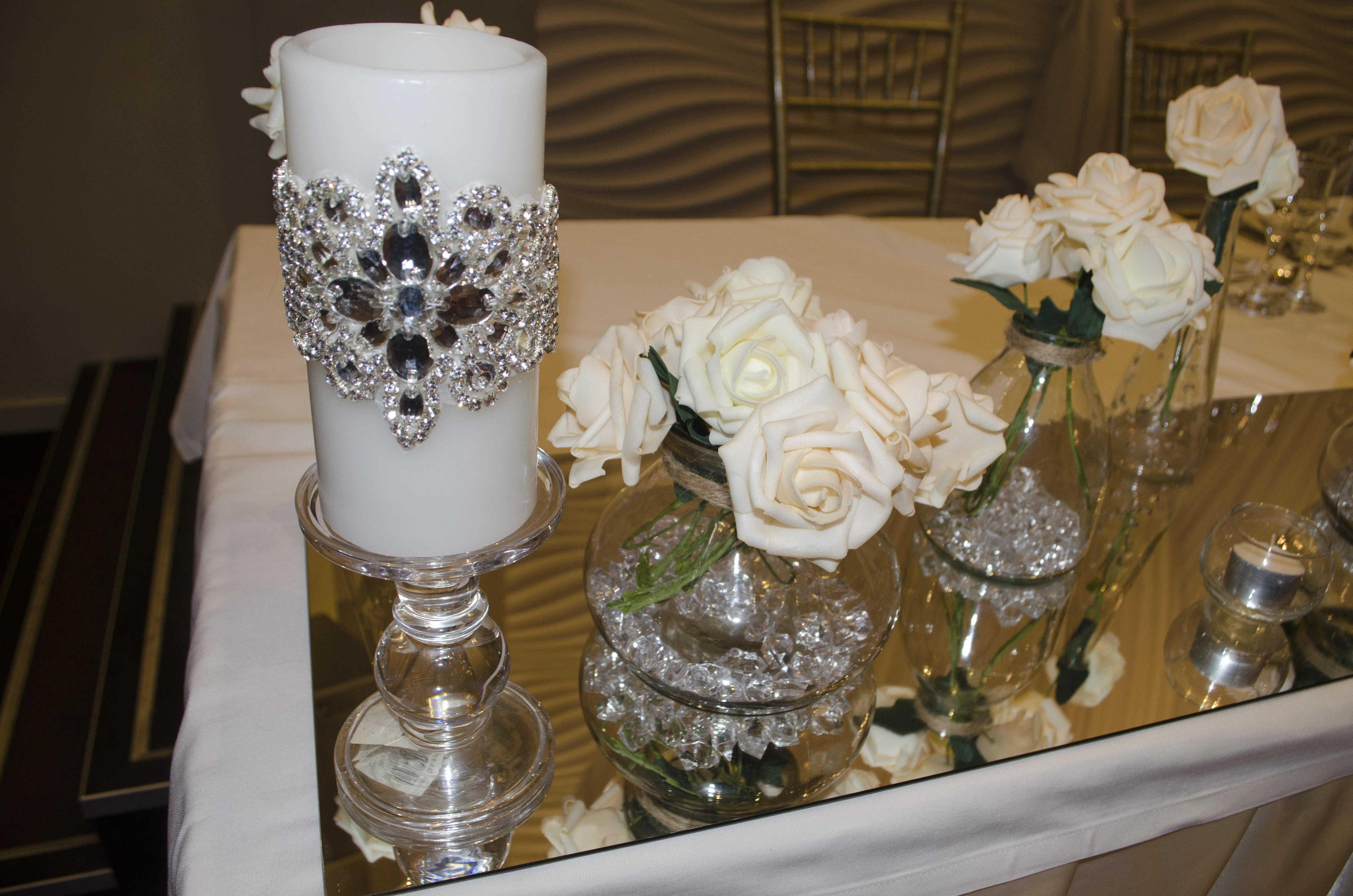 Swarovski Crystal Encrusted hand beaded candle