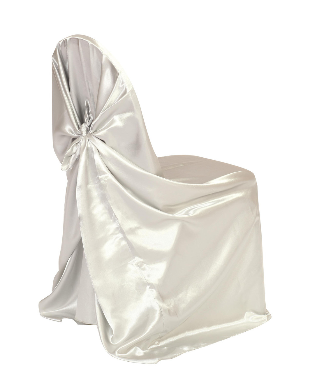 White Satin Universal Chair Cover