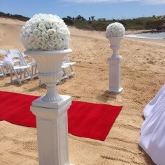 White Urn and Pedestal with large white flower topper