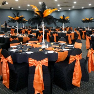 Black Pleated Designer Chair Cover with Orange Satin Sash
