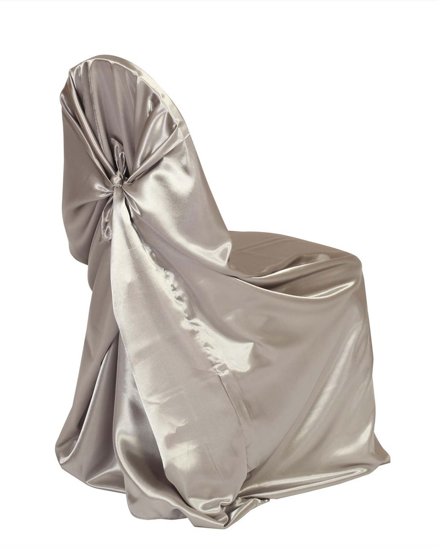 Silver Satin Universal Chair Cover