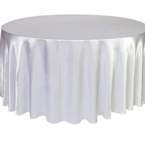 White Satin Round Table Cloth 3m x 3m