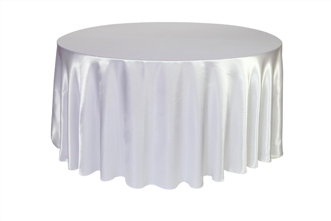 White Satin Round Table Cloth 3m X 3m Moments Of Elegance